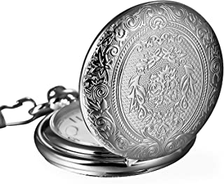 Mudder Vintage Stainless Steel Quartz Pocket Watch Chain