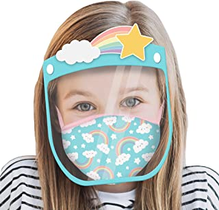ABG Accessories girls Abg Accessories Kids Face Shield With Matching Little Girls Reusable Fabric Mask Face Shield
