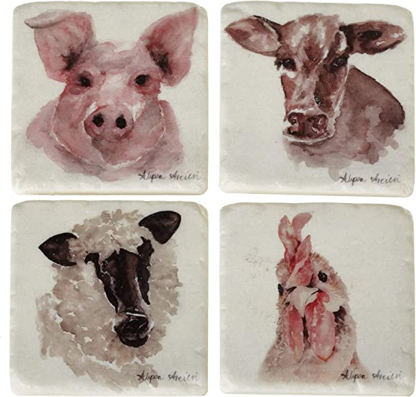 Midwest CBK Farm Animals Pig Cow Sheep Rooster Drink Coasters Set Of 4 Resin