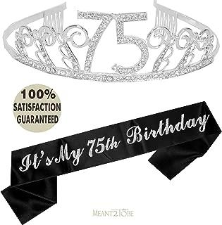 75th Birthday Tiara and Sash, Happy 75th Birthday Party Supplies, 75 & Fabulous Black Glitter Satin Sash and Crystal Tiara Birthday Crown for 75th Birthday Party Supplies and Decorations