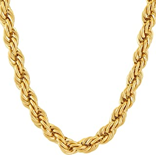 7mm Rope Chain Necklace 24k Real Gold Plated for Men & Women
