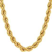Lifetime Jewelry 7mm Rope Chain Necklace 24k Real Gold Plated for Men & Women