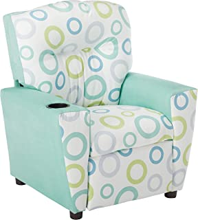 Kidz World Spa Capri Kid's Recliner with Cup Holder, Aqua Suede