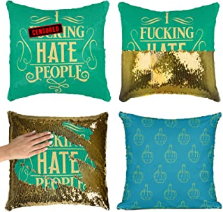 BadBananas I Fking Hate People - Reversible Flip Sequin Pillowcase - Funny Rude Offensive Gag Gift - Decorative Cover for Throw Pillows