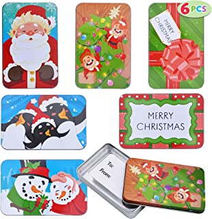 """6 Christmas Gift Card Tin Holders Boxes 5"""" x 3.25"""" x 0.75"""" for Holiday Gift Décor, Xmas Party Favor Giveaway Box"""