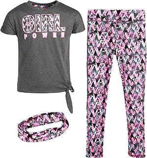 dELiAs Girl's Activewear Set - Short Sleeve T-Shirt and Leggings Sweatpants Set with Headband