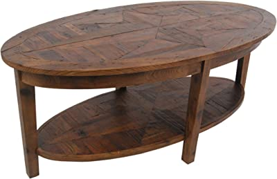 """Renew Reclaimed Wood 48"""" L Oval Coffee Table, Natural"""