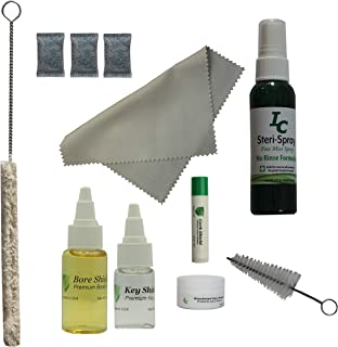 Deluxe Clarinet Care Kit, Bore Oil, Key Oil, Polishing Cloth, Cork Grease, Cotton Swab, Mouthpiece Cleaner, Mouthpiece Brush, Ant-Tarnish Packets