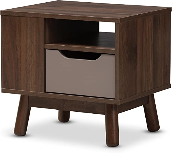 Baxton Studio Gillian Mid Century Modern Walnut Brown And Grey Two Tone Finished Wood Nightstand