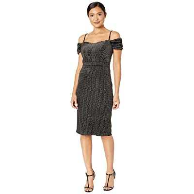 Laundry by Shelli Segal Off the Shoulder Dress in Circle Flocked Velvet (Black/Silver) Women