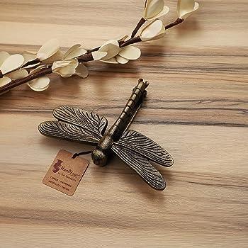 Two Moustaches Dragon Fly Design Metal Door Knocker - (Antique Brown, Standard)