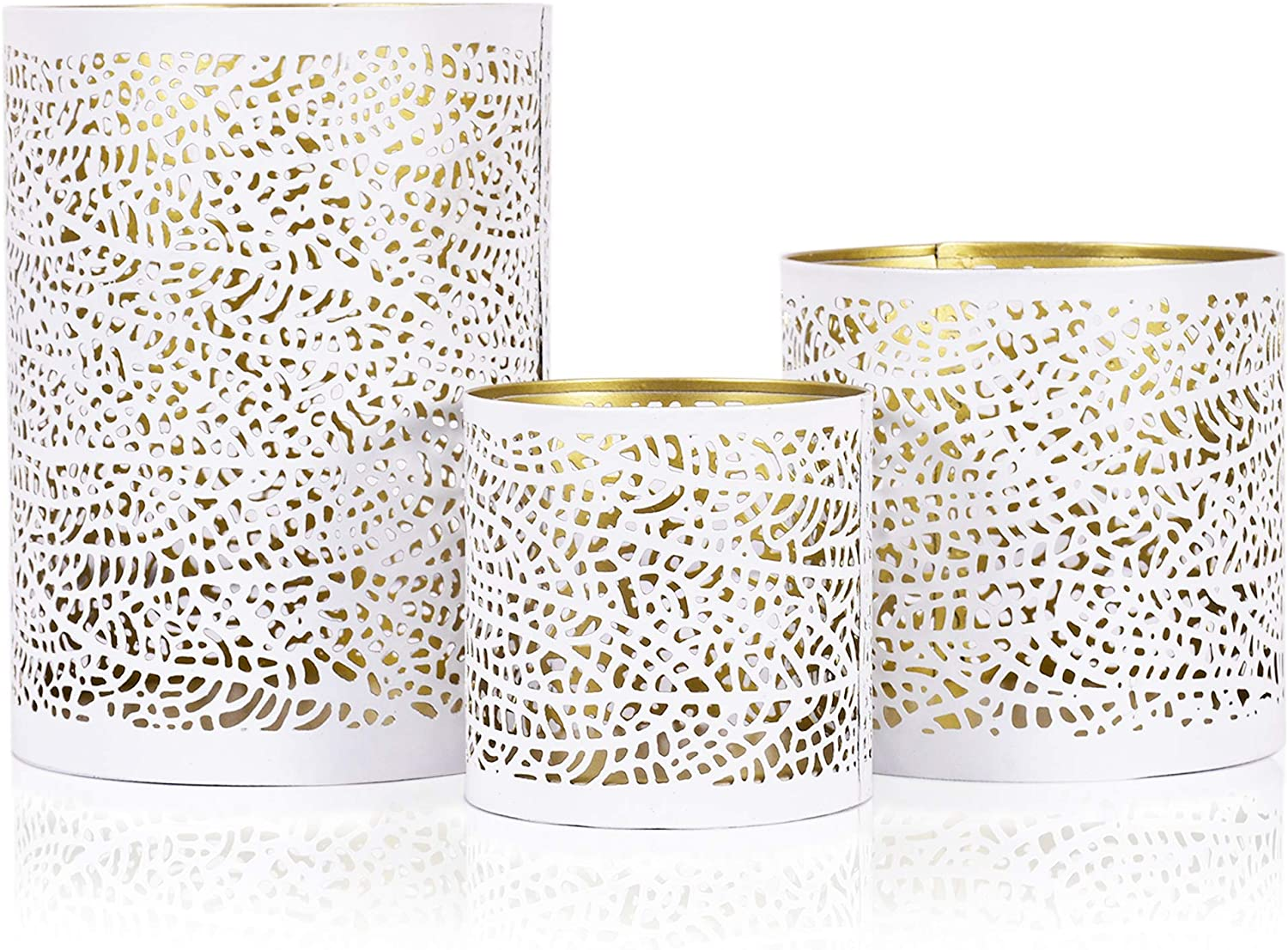 Lazy Max 57% OFF Year-end gift Gifts Set of 3 White Hurr Metal Nesting and Gold Decorative