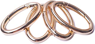 Bobeey 4pcs Spring Oval Rings,Oval Carabiner Snap Clip Trigger Spring Keyring Buckle,Oval Ring for Bags,Purses BBC8, Gold,...