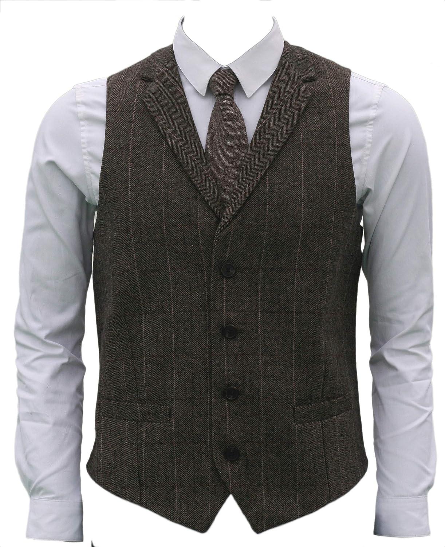 1920s Style Mens Vests Ruth&Boaz 2Pockets4ButtonsWoolHerringbone TweedTailoredCollarSuitVest  AT vintagedancer.com