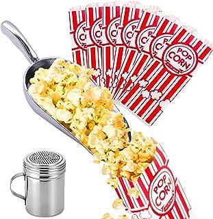 CUSINIUM Aluminium Popcorn Scoop - Popcorn Salt Shaker with Handle - [100pcs] 1oz Popcorn Bags Bundle