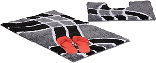 Relaxdays Accessory 2-Piece Set with Wave Pattern, for Heated Floors, Washable, Bath Mat Rug, for Stand-Alone Toilets, 80 ...