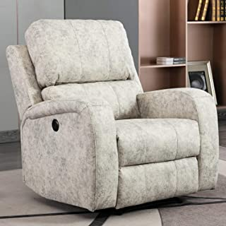 Bonzy Home Power Recliner Chair Air Suede - Overstuffed Electric Faux Suede Leather Recliner Chair with USB Charge Port - Home Theater Seating - Bedroom & Living Room Chair Recliner Sofa (Light Gray)