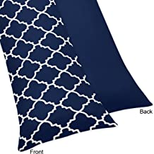Sweet Jojo Designs Navy Blue and White Modern Body Case Cover for Trellis Lattice Collection (Pillow Not Included)