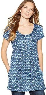 f6bee61d0f Mantaray Womens Navy Diamond Print Cotton Tunic Top