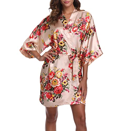 431619f970 1stmall Floral Satin Kimono Short Style Bridesmaids Robes for Women