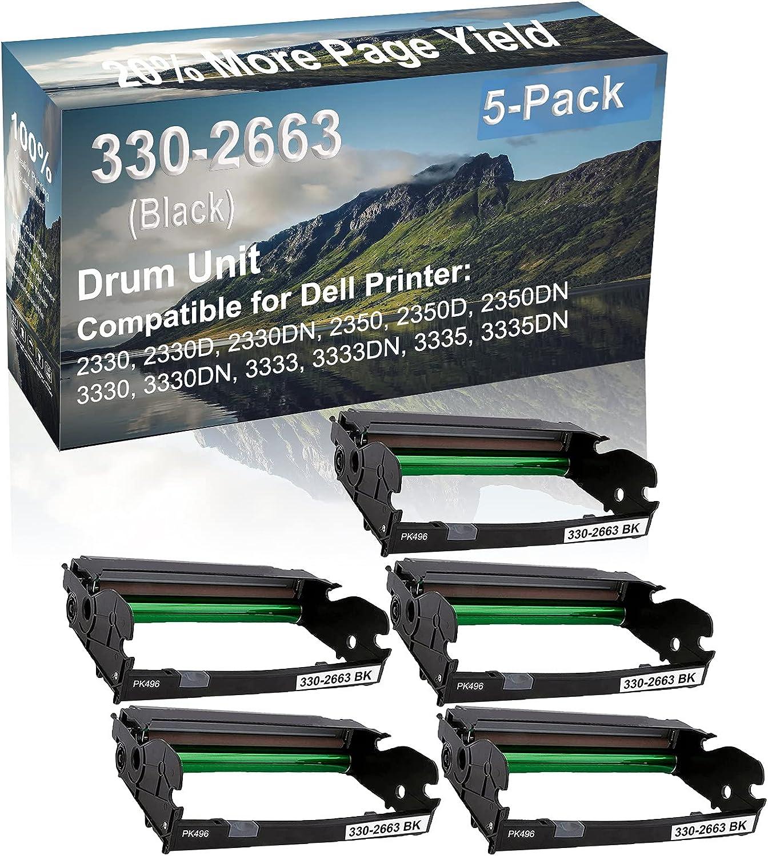 5-Pack (Black) Compatible 2350D, 2350DN, 3330, 3330DN Printer Drum Unit Replacement for Dell 330-2663 PK496 Drum Kit