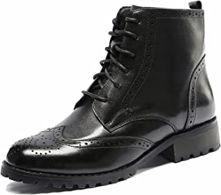 U-lite Womens Lace Up Brogue Leather Oxford Boots, Autumn Winter Martin Combat Ankle Boots