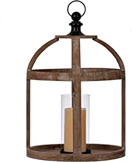 Wood Lantern Cage with Glass Hurricane Candle Holder | Use as a Rustic Home Decoration or a Unique Centerpiece for Parties, Weddings, and Birthday Celebrations