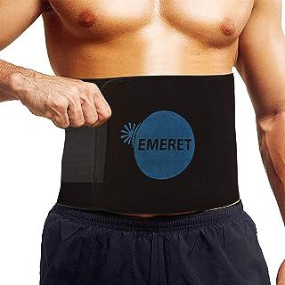 Emeret Tummy Trimmer Exerciser Sweat Waist Trainer Slim Belt for Fat-Burning for Men and Women (Black)