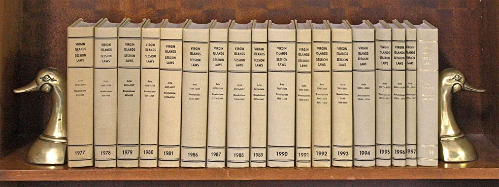 Virgin Islands Session Laws. 1977 to 1981; 1986 to 1998, in 18 books