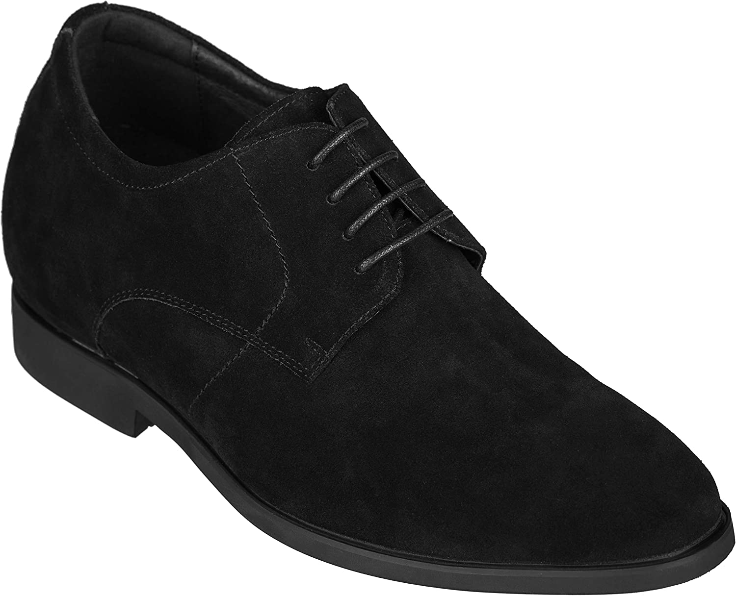 CALTO Men's Invisible Height Increasing Elevator Shoes - Black Nubuck Leather Lace-up Dress Oxfords - 3 Inches Taller - Y31251