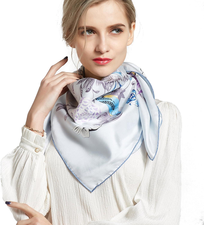 Silk Scarf Square Scarf for Hair WomenPantonight 100% Pure Silk 14MM Hand Rolling Edge Silk Twill Scarf for Women