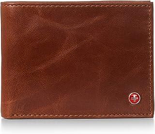 Alpine Swiss Mens Genuine Leather Wallet Slim Flip-out Bifold Brown
