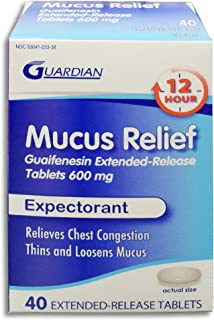 Guardian Mucus ER 12 Hour Extended Release Guaifenesin, Chest Congestion Expectorant Tablets (40 Count, 600mg)
