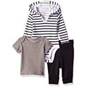 Hanes Ultimate Baby Flexy Knit Jogger with Hoodie and Short Sleeve Crew Set, Black Stripe, 0-6 Months