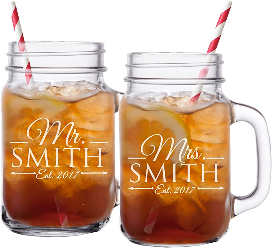 Mr And Mrs Mason Jar Glasses His And Her Gifts For Couples Personalized Engraved Wedding Gifts Custom Monogrammed For Free Set Of 2