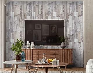 "Timeet Rustic Wood Wallpaper Wood Plank Wood Peel and Stick Wallpaper Removable Self-Adhesive Film Wood Grain Paper Wood Wallpaper Shelf Drawer Liner Vinyl Film Roll 17.7""x197"""