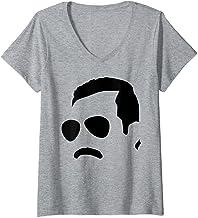 Womens Freddie Mercury Official Monochrome Block Face V-Neck T-Shirt