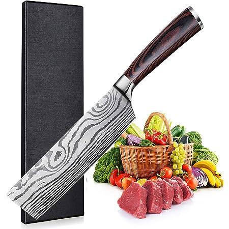 UniqueFire Couteau de Chef Nakiri, Couteau de Cuisine 7 Pouces, Lame en Acier Inoxydable en Teneur de Haut Carbone, Conception Ergonomique Manche en Pakkawood