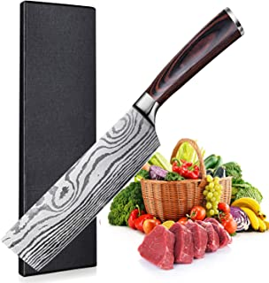 UniqueFire Couteau de Chef Nakiri, Couteau de Cuisine 7 Pouces, Lame en Acier Inoxydable en Teneur de Haut Carbone, Concep...