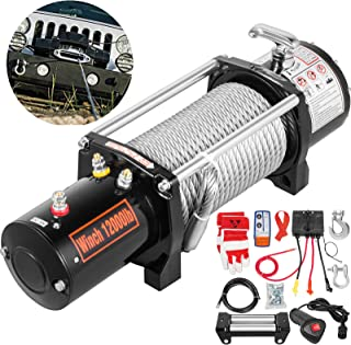 VEVOR Truck Winch 12000Ibs Electric Winch 94ft/28.6m Cable Steel 12V Power Winch Jeep Winch with Wireless Remote Control and Powerful Motor for UTV ATV & Jeep Truck Wrangler Accessories in Car Lift
