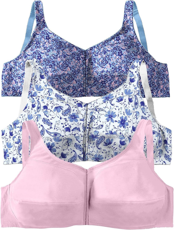 Comfort Choice Womens Plus Size 3-Pack Front-Close Cotton Wireless Bra