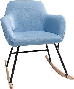Invicta Interior Moderner Schaukelstuhl Scandinavia hellblau Schaukelsessel Scandinavian Design Sessel Stuhl Wohnzimmersessel