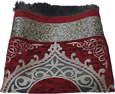 BAYKUL Muslim Prayer Rug - New Desing Islamic Turkish Chenille Velvet Prayer Rugs -Great Ramadan Gifts-Portable Prayer Mat for Women Men-Islam Carpet-Janamaz Sajadah Carpet-Gift Prayer Beads 99(S-Red)