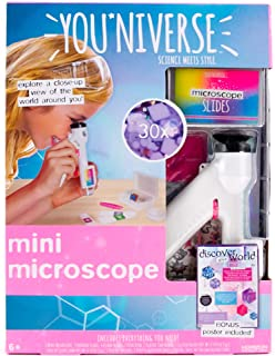 YouNiverse Mini Microscope by Horizon Group Usa, Stem Science Kit, Includes 1 Microscope, 5 Prepared Slides, 6 Blank Slides & More