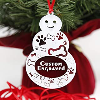 LHS Engraving   Personalized Dog Christmas Ornaments for 2019   Clear Plastic Christmas Ornaments Custom Engraved Snowman, Shatter Resistant Cute Pet Design   Made in USA