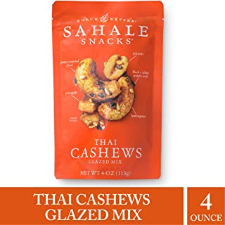 Sahale Snacks Thai Cashews Glazed Nut Mix - Healthy Snacks in a Resealable Pouch, No Artificial Flavors, Preservatives or Colors, Gluten-Free Snacks, 4 Ounce (Pack of 1)