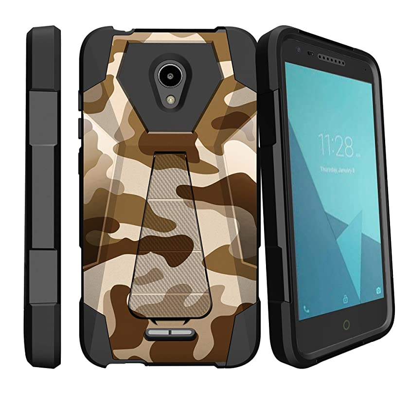 MINITURTLE Case Compatible with Alcatel Raven LTE, Alcatel IdealXcite, Alcatel CameoX Dual Layer Protective Non Slip Shockproof Cover with Push-in Stand by MINITURTLE - Brown Camouflage