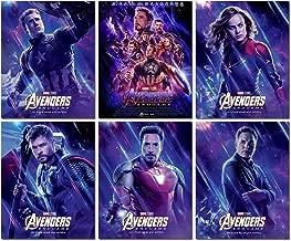Marvel Avengers Endgame Movie Poster - canvas wall art Superhero decoration of Iron man/thor /Captain America/Captain Marvel/hulk/ 6 set unframed wall print painting 8x10 inch for kids room decor