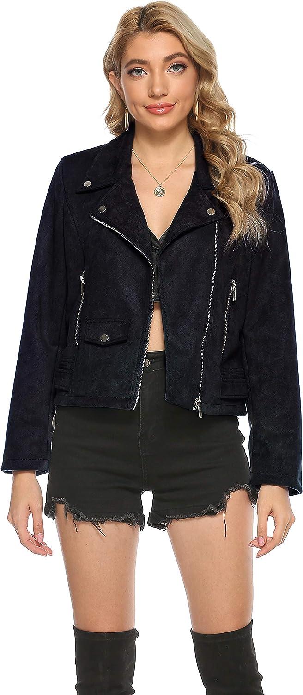 Tanming Women's Faux Suede Leather Notched Lapel Collar Short Moto Biker Jacket Coat