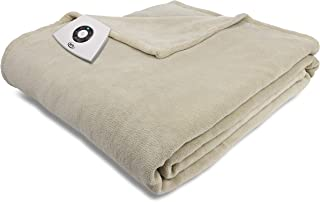 Serta   Super Soft Microplush Electric Warming Blanket with 5 Heat Settings, Auto-Shut Off & Overheat Protection, Full, Sand